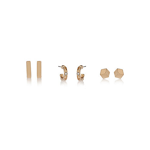 Gold tone glam stud earrings pack