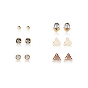 Gold tone embellished stud earrings pack