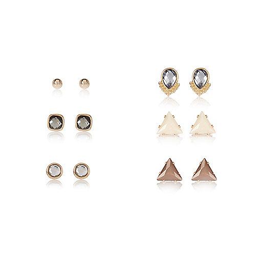 Gold tone embellished stud earrings pack
