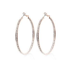 Rose gold tone diamanté hoop earrings
