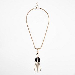 Gold tone circle fringe chain necklace