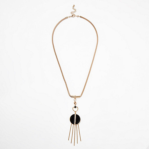 Gold tone circle fringe chain necklace