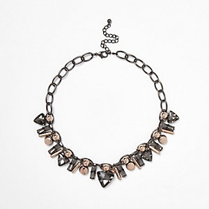 Gunmetal tone layered jewel necklace