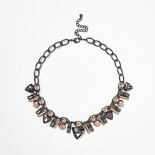 Gunmetal tone layered jewel necklace