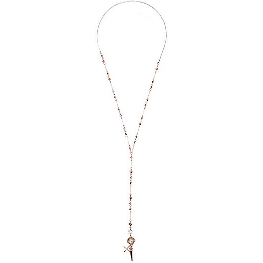 Rose gold tone spike rosary necklace