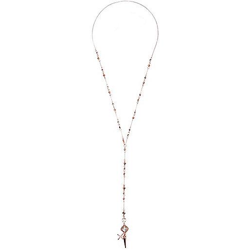 Roségoldene Rosenkranz-Halskette mit Spike-Anhänger