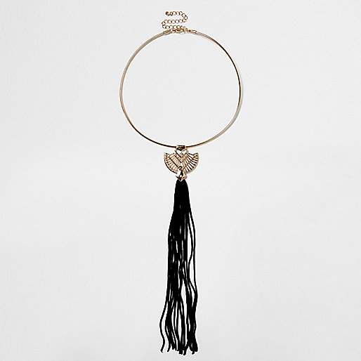 Halsband mit Quastenanhängern in Gold