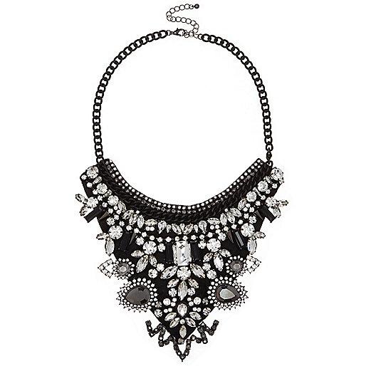 Black crystal bib necklace