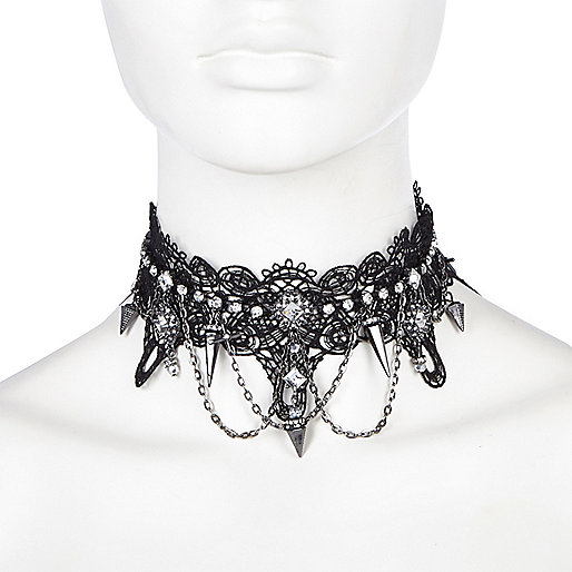 Black crystal lace choker necklace