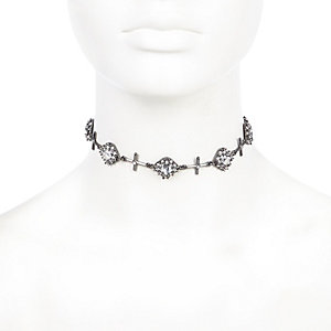 Black cross encrusted choker necklace
