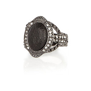 Dark silver tone diamanté ring