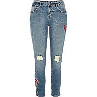 Alannah – Blaue, lässige Skinny Jeans mit Muster