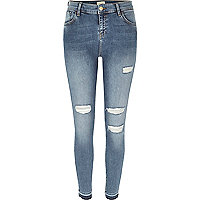 Amelie – Super Skinny Jeans in blauer Waschung und Used-Look