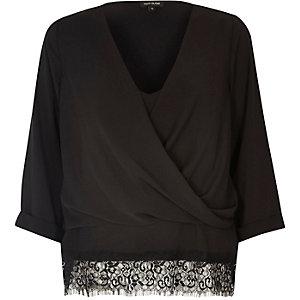 Black layered lace trim wrap blouse