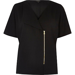 Black zip-up T-shirt