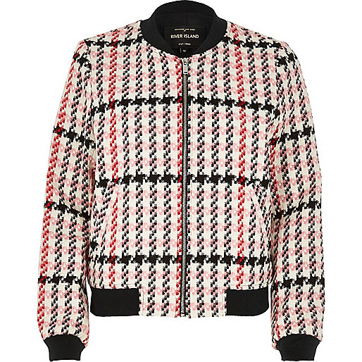 Pink classic checked bomber jacket