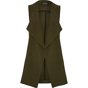 Khaki split side sleeveless jacket