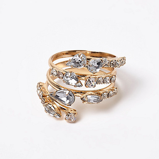 Gold tone crystal climber ring