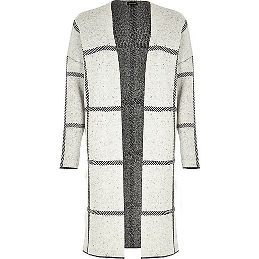 Grey check knitted cardigan