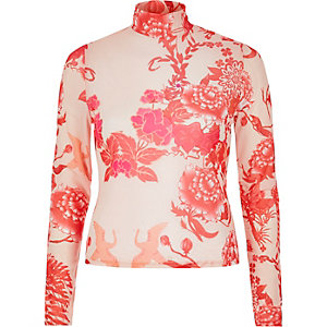 Pink print long sleeve mesh top