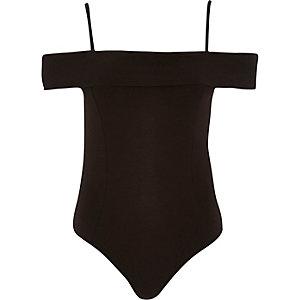 Black bardot frilly bodysuit