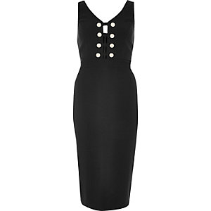 Black military bodycon dress