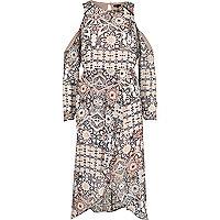 Nude print frill cold shoulder dress