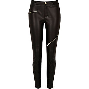 Black leather look trousers