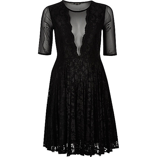 Black mesh and lace skater dress