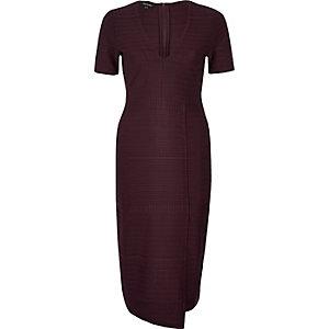 Dark purple ribbed wrap detail dress