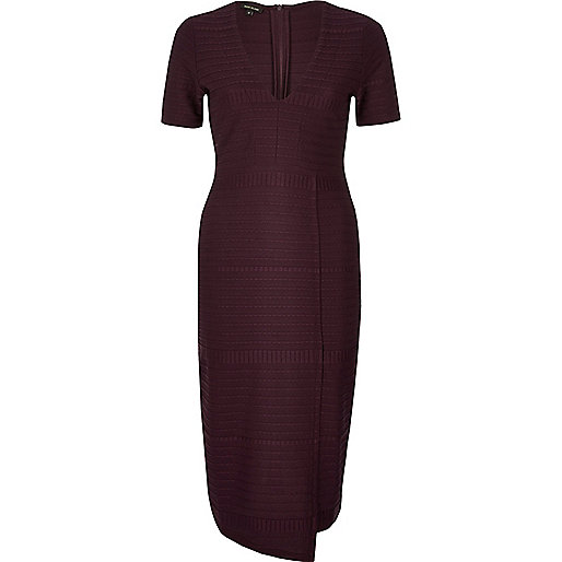 Dark purple ribbed wrap detail dress