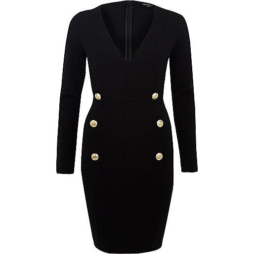 Black button plunge neck dress