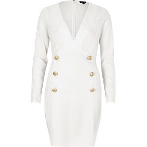 White button plunge neck dress