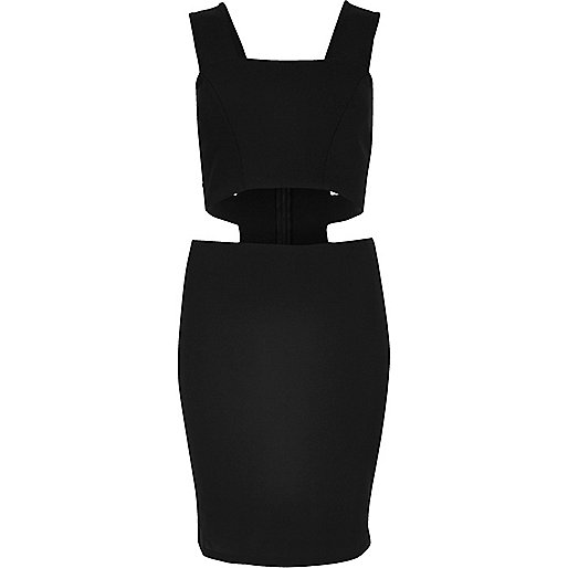 Black thick strap cut-out dress