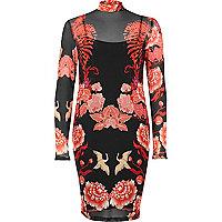 Black floral print mesh bodycon dress