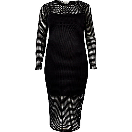 RI Plus black mesh bodycon midi dress