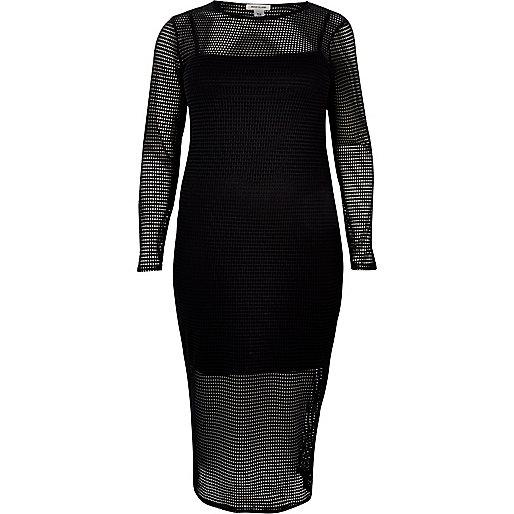 RI Plus black mesh bodycon midi dress
