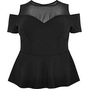 RI Plus black mesh cold shoulder peplum top