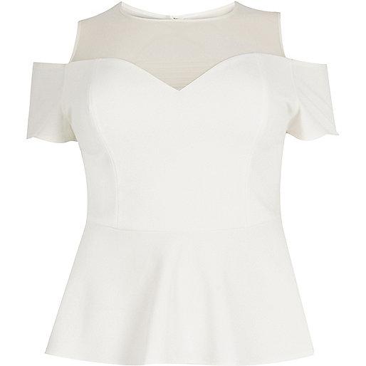 RI Plus cream mesh cold shoulder peplum top