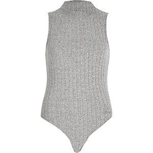 Grey soft ribbed turtleneck bodysuit