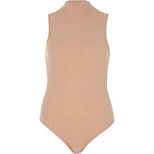 Light pink ribbed flannel bodysuit