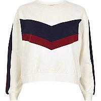 Weißes Sweatshirt mit Blockbahnen