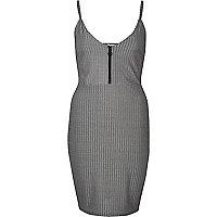 Metallic grey ribbed cami dress