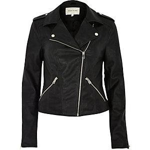 Black leather-look biker jacket
