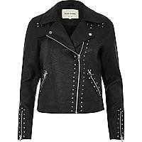 Black textured stud biker jacket