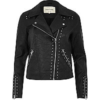 Black textured stud biker jacket