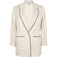 Cream satin pajama jacket