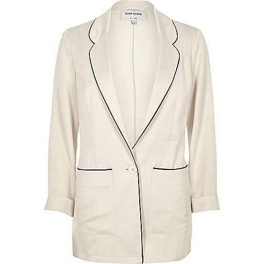Cream satin pajama style jacket
