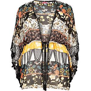 RI Plus – Schwarzer, bedruckter Kimono mit Kordelzug