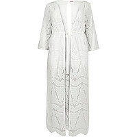 RI Plus white lace maxi cover-up